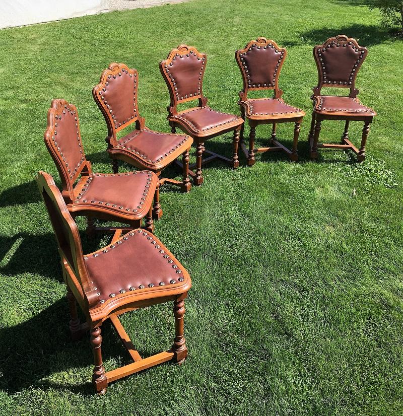 Barock Stühle neu beziehen in Sattlerleder